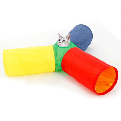 Amazing-Cat-Trees-Multicolor-Cat-Tunnel-Cat-Toy-with-cat-playing image